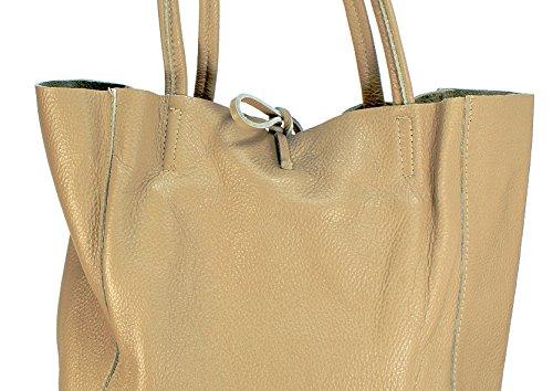 Ital Echt Leder Ledertasche Damentasche Handtasche Shopper Schultertasche (silber) beige