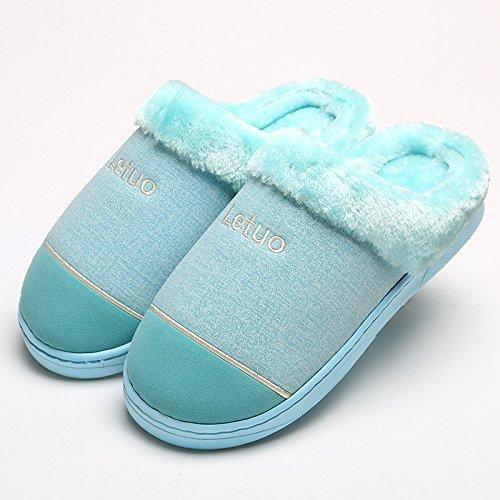 Y-Hui Autunno e Inverno il cotone pantofole in pelle gli amanti della femmina in piscina calda borsa con slittamento metà Casa Arredamento ispessimento scarpe di fondo 6525- sky blue
