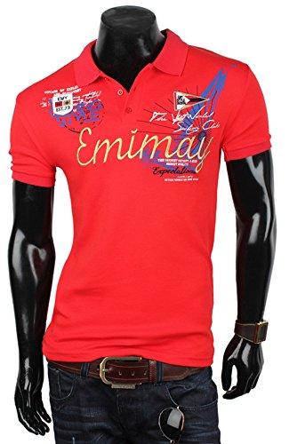 EMIMAY Herren Poloshirt T-Shirt Hemd Party Slim Fit Original Premium Rot