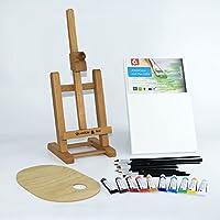 """25 pcs Set 16"""" Easel, 20x30cm canvas A4, Acrylic Paints 10x12ml, 12 Brushes, Pelette - Painting Kit"""