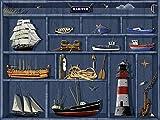Artland Qualitätsbilder I Glasbilder Deko Glas Bilder 80 x 60 cm Stillleben Arrangements Digitale Kunst Blau B6YY Der Maritime Setzkasten