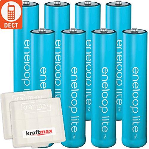 Kraftmax 8er-Pack Panasonic Eneloop LITE AAA Akkus - speziell für schnurlose Telefone / DECT Telefon - 8x Micro Akku Batterien in Kraftmax Akkuboxen