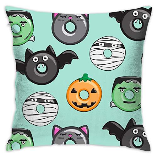 zierkissenbezug 45x45 Halloween Donut Medley - Teal - Monster Kürbis Frankenstein Black Cat Dracula_111 100% Baumwolle, Wohnzimmerdekoration, Heimsofa, Büro, Auto.