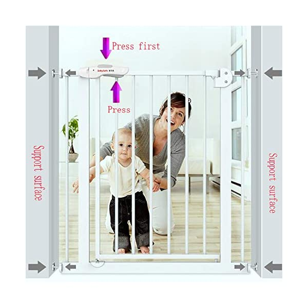 Baby child safety gate bar baby stairway fence pet fence dog fence pole isolation door(74-84cm) AA-SS-Safety Door ✿Adaptable :Convenient walk through design with safety locking feature. ✿Easy one-hand open handle:The gates convenient design allows adults to walk through by simply sliding the safety lock back and lifting. ✿Easy to use: Pressure mount design that is quick to set up. No tools required and is gentle on walls. 2