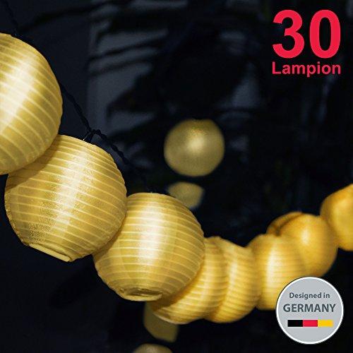B.K.Licht LED Außenlichterkette Solar Outdoor Lichterkette 6 Meter 30 LEDs Lampions Laterne Solarbetrieben Lichterkette Wasserfest Weihnachten Dekoration für Garten | Terrasse | Hof | Haus