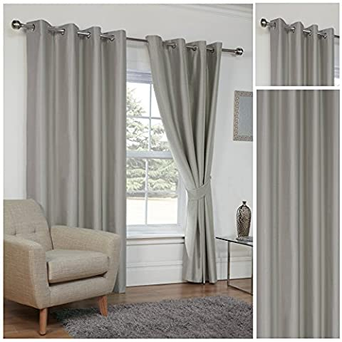 Faux Silk Silver 3 Pass Coated Thermal Blackout Ring Top / Eyelet Unlined Readymade Curtain Pair 46x72in(117x182cm) Approximately Including Tie Backs By Hamilton