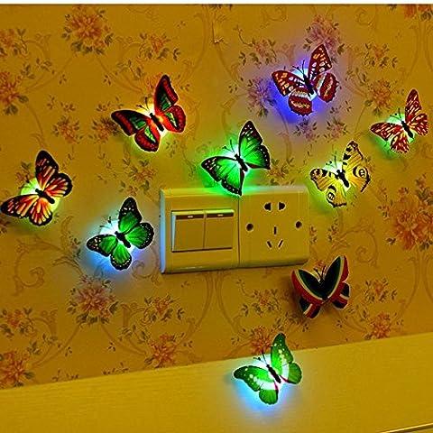 12 PCS LED Bunt Schmetterling Wanddeko Licht Party Licht von Colleer, LED Deko Beleuchtung Nachtlicht mit Saugnapf Wandleuchten romantische mehrfarbigen Flackern Nachtlicht für Oktoberfest, Schlafzimmer Festival Party Geburtstag Hochzeit Dekoration