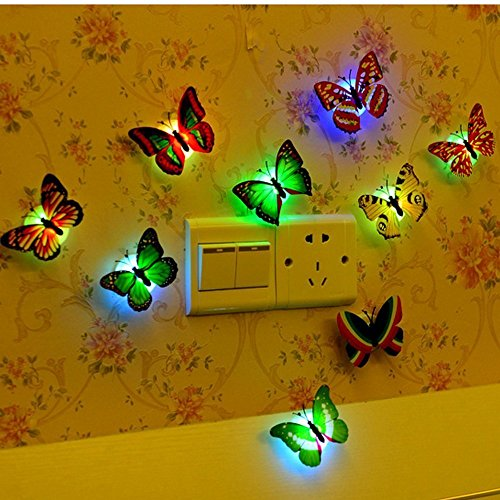 12 PCS LED Bunt Schmetterling Wanddeko Licht Party Licht von Colleer, LED Deko Beleuchtung Nachtlicht mit Saugnapf Wandleuchten Nachtlicht für ()