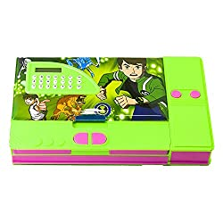 8teen World Jumbo Pencil Box Pencil Box in Princess, Cinderella, Spider Man & Avengers Characters with Calculator (Ban 10)