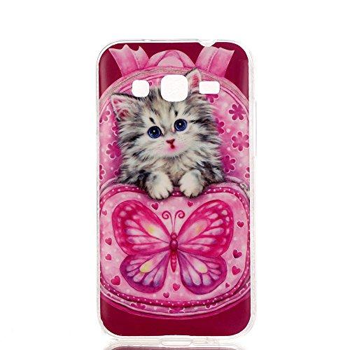 Qiaogle Téléphone Coque - Soft TPU Silicone Housse Coque Etui Case Cover pour Apple iPhone 5C (4.0 Pouce) - YH30 / Mignon chat sac dos YH30 / Mignon chat sac dos