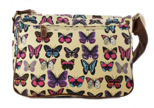 Miss Lulu Damen Mädchen Schmetterling Print Geldbörse, Messenger Crossbody Schulter Handtasche Satchel Beige