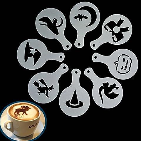 Bluelover 8Pcs Halloween Cappuccino Latte Art Pochoirs Café Plumeau Gâteau Glaçage Vaporisateur