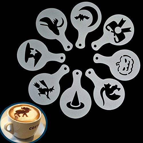 Aliciashouse 8pcs Halloween Cappuccino Latte Art Café plantillas plumero pastel glaseado Spray