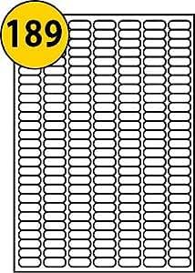 189par page/feuille, 20feuilles (3780étiquettes autocollantes Petit Micro), blanc, vierge autocollant A4uni, imprimable avec imprimante jet d'encre/laser/copieur ou, Royaume-Uni LP189/25, 25,4x 10mm, pour impression sans à confiture–Labels4u ® TM