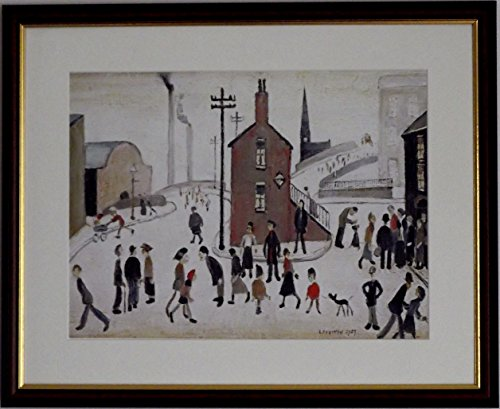 L S Lowry Spezialität-Street Scene-auf einem Leinen Struktur Druck/Bild Medium, Walnut Finish frame With Soft White mount And Large Image, 20 x 16inch -
