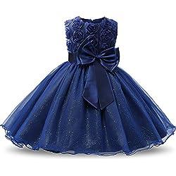 NNJXD Tutu Robes sans Manches Dentelle 3D Fleur pour Princesse ,Bleu Foncé,1-1.5 Ans (Taille Fabricant: 90)