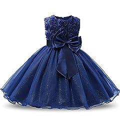 Idea Regalo - NNJXD Ragazza Gonna a Fiori in Pizzo 3D Senza Maniche Vestito da Principessa delle Feste Taglia(150) 6-7 Anni Blu Scuro