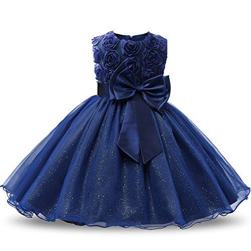 NNJXD Mädchen Ärmellos Spitze 3D Blumen Tutu Urlaub Prinzessin Kleider Größe(120) 3-4 Jahre Navy blue 3 Kleid