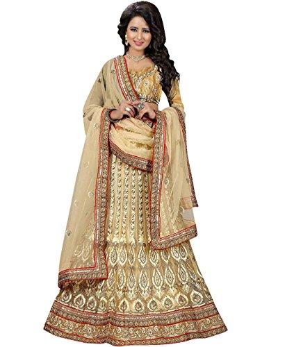 Indian Ethnicwear Bollywood Pakistani Wedding Beige A-Line Lehenga Semi-stitched-MAL53740