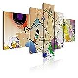 Dekoarte 418 - Cuadro moderno en lienzo de 5 piezas, estilo abstracto tipo Kandinsky 180x85cm.