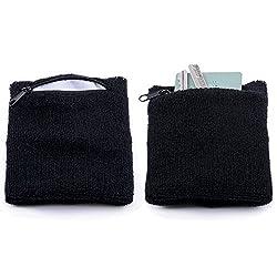 The Friendly Swede Zipper Sweatband Wristband (2 Pack), Black, Large
