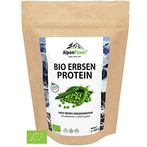 ALPENPOWER | BIO ERBSENPROTEIN | Ohne Zusatzstoffe | 100{44f36ad0358ce1df71078233a50f31d6bd1fa4632951d2892ea9f43159205cac} reines Erbsenprotein-Isolat | Hochwertiges Eiweiß | Vegan | Vielseitig anwendbar | Low Carb | Organic Pea Protein | 600g