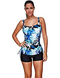 Lover-Beauty Women 50s Retro Two Piece Wireless Swimwear With Padded Summer Swimming Costume Tankini Set Vintage Swimsuit