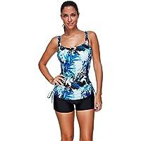 Lover-Beauty Women 50s Retro Two Piece Wireless Swimwear with Padded Summer Swimming Costume Tankini Set Swimsuit
