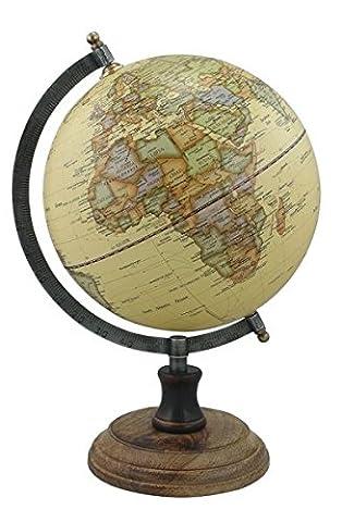 Globus beige, Ständer in antik, Holz, Messing/Eisen, H: 32cm, Ø: 20cm
