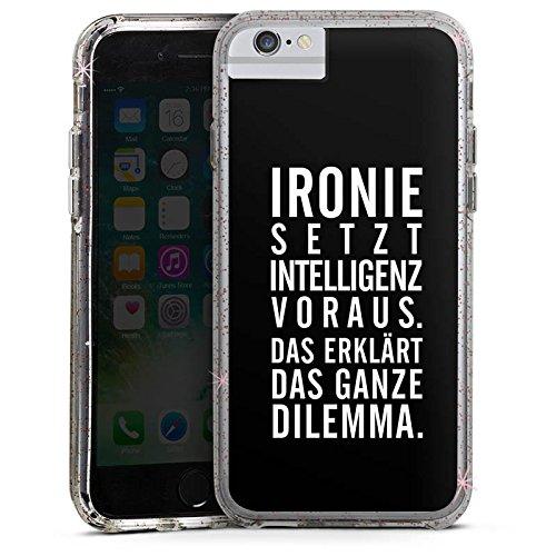 Apple iPhone 7 Bumper Hülle Bumper Case Glitzer Hülle Ironie Humor Intelligenz Bumper Case Glitzer rose gold