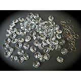 Cristales octogonales de 77 x 14 mm con anillas cromadas para lámpara de araña de techo