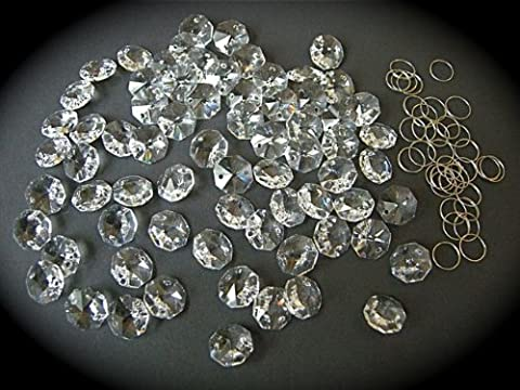Loose Crystals Cristaux octogonaux pour lustres avec anneaux chromés 77 x 14 mm