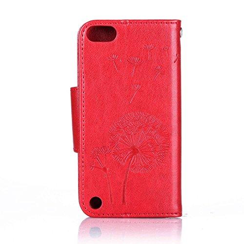 Custodia iPhone iPod Touch 5, ISAKEN Custodia iPod Touch 5, iPod Touch 6 Flip Cover, Elegante borsa Farfalle Design Custodia in Pelle Protettiva Portafoglio Case Cover per iPod Touch 5/6G con Strap /  Dente di leone : rossa