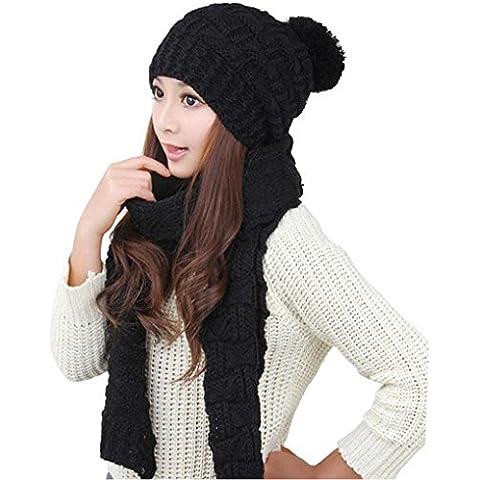 Malloom 1set mujer cálida capucha tejido lana mantón de la bufanda + gorras sombreros traje