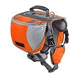 Yiiquanan Hund Rucksack Verstellbar Pack Mittelgroße & Large Hunderucksack für Wandern Camping Reise (Orange#1, Asia S)