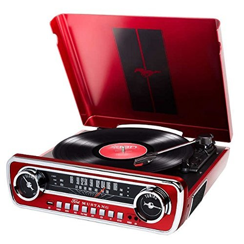 JISAM TRADE ION phonographes Turn Table 1965 Classic Car-Styled Ford Mustang Design Master LP 4-in-1 Music Center avec Haut-parleurs (Rouge)