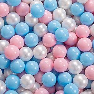 KiddyMoon 90X30cm/200 Palline ∅ 7CM Piscina di Palline Colorate per Bambini Tondo Fabbricato in EU, Rosa: Azzurro/Rosa C/Perla