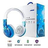 Onanoff kabellose Bluetooth-Kopfhörer für Kinder, Modell Wave (Limited to 75, 85 oder 94 dB, faltbar & wasserfest, 24 Stunden Akkulaufzeit, optionales Kabel für Audio-Sharing, Blau