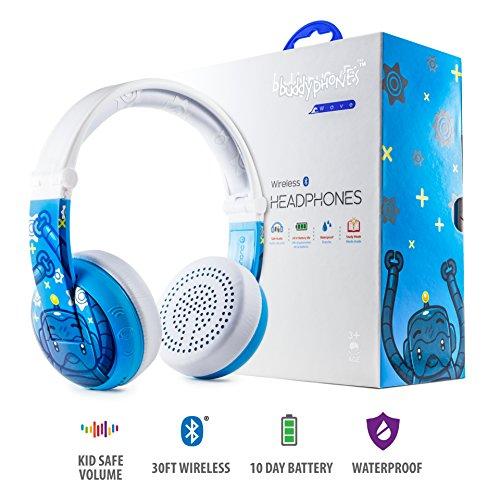 Kabellose Bluetooth Kopfhörer für Kinder - BuddyPhones Wave   Verstellbare Lautstärkebegrenzung zu 75, 85, 94 dB   Faltbar & Wasserfest   24h Batterielaufzeit   Optionales Kabel zum Mithören   Blau
