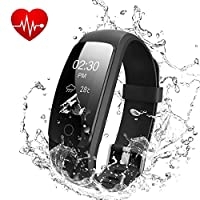 OMNiX ID107 Plus HR Smart Wristband Heart Rate Monitor with 0.96 Inch OLED Kionix Gravity sensor, BT 4.0, IP67 Waterproof for Android 4.4/iOS 7.1 Above, Removable Straps, Direct USB Charging (Black)