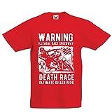 Maglietta per Bambini/Ragazzi la Corsa alla Morte - L'Ultimo Killer Ride, Motociclismo, Motociclista, Classico - Vintage - Moto retrò (3-4 Years Rosso