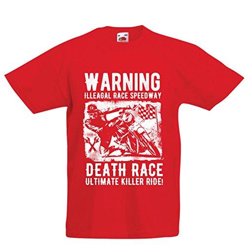 Kinder Jungen/Mädchen T-Shirt Todesrennen - Ultimative Killerfahrt, Motorradrennen, Klassiker, Vintage, Retro-Schädel-Biker, Motorrad (7-8 years Rot Mehrfarben)