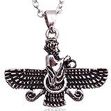 Klein doppelseitig Silber PT fatvahar faravahar Halskette Kette iranischen Persischen Geschenk, silber, S