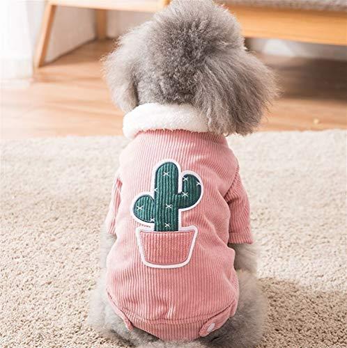 ZHONGH-SHUI Gesund und Bequem Hund Warmen Baumwollmantel, Kaktus Muster (Color : Pink, Size : XS) -