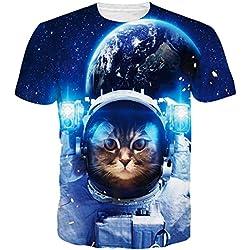 Leapparel Camisetas Divertidas Unisex Del Humor Del Inconformista De La ImpresióN Del Gato Del Astronauta Camisetas Ropa L