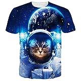 Leapparel El Gatito Divertido Del Astronauta Imprimió Las Camisetas Con Estilo De Las Camisetas De La Cadera De Hip Hop Impresas XXL