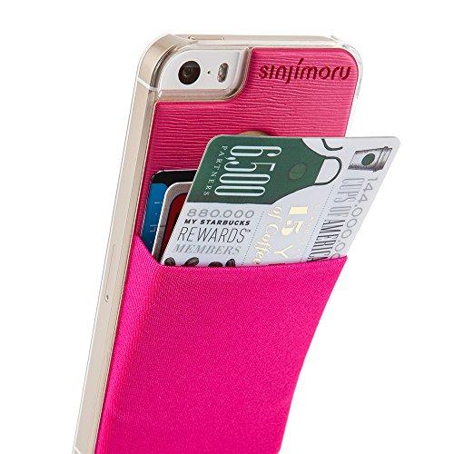iPhone 5 Hülle mit Kartenfach, Sinjimoru iPhone 5 / 5s Hard Case mit Kartenhalter / Schutzhülle mit aufklebbarer Mini Geldbörse. Sinji Pouch Case für iPhone 5 / 5s, Violett. Pink