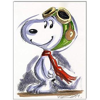 Original Feder und Aquarell auf Aquarellkarton: Snoopy vs. Red Baron III/ 24×32 cm