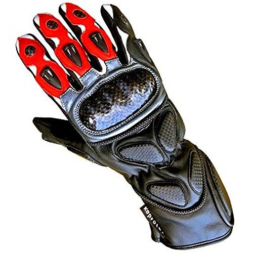 Juicy Trendz Neue Qualität Rindsleder professionellen Leder Motorrad-Handschuhe Motorcycle Gloves Rot Large