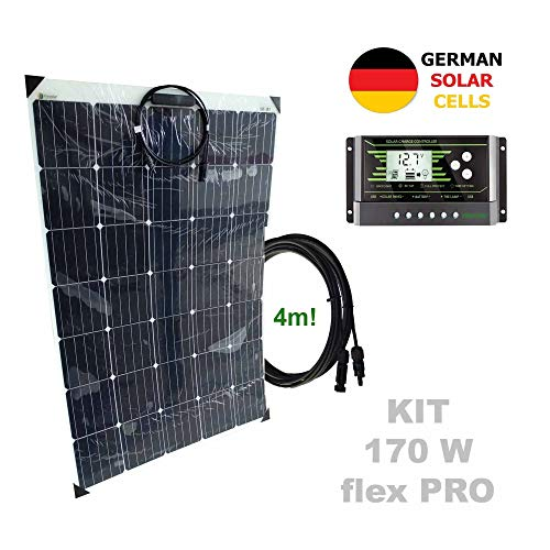 Kit 170W flex PRO 12V panel solar semi-flexible células alemanasComposición del Kit Solar:Panel solar semi-flexible 170W 12V células alemanasRegulador solar de 20A 12V/24V con display y 2 USB LCD VIASOLARPar de cable solar de 4m y 4mm2 con 1 conector...